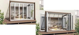 採光・通風に優れた折りたたみ戸は、 たたみ幅が小さいため、広い開口部を 得ることができます。