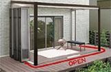 片寄せフルオープン ※1.5間・2.0間×6尺と1.5間~3.0間×8尺サイズが可能です。