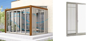 窓の開口部に網戸付格子を設け、網戸付格子部より通風ができる採風格子窓。すっきりとしたデザインのたて格子と多少の雨なら雨水が入りにくい構造のガラリをご用意しています。